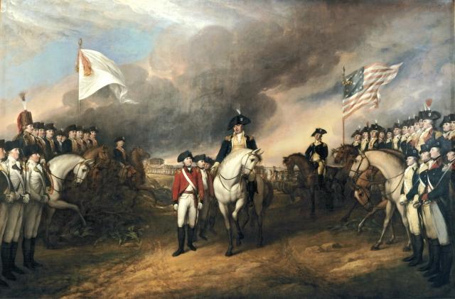 Surrender at Yorktown 1781 Artist John Trumbell/courtesy of Wikimedia Common