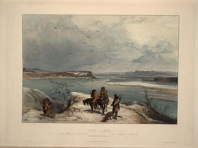 Fort Clark on the Missouri  Artist Karl Bodmer, courtesy of Wikimedia Commons
