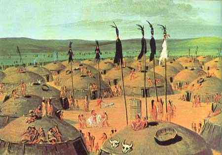 Mandan Village by George Catlin circa 1833  courtesy of Wikimedia Commons