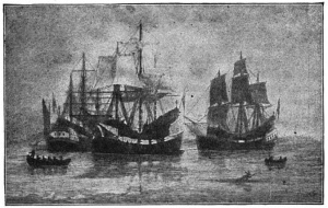 Winthrop Fleet: Arrival of the Winthrop Colony in Boston Author: W.F. Halsall, courtesy of Wikimedia Commons