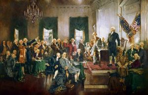 Scene at the Signing of the Constitution of the United States (completed in 1940) Artist: Howard Chandler Christy (1873-1952) Courtesy of Wikimedia Commons