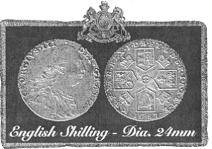 English Shilling Diameter 24mm photo on www.revolutionarywararchives.org/eightpence