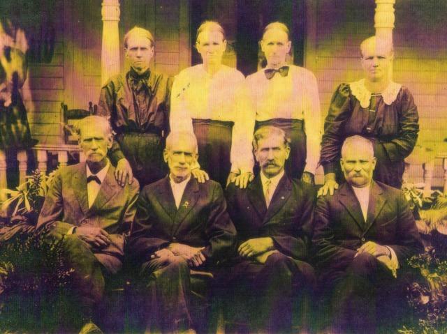 Front: Martin Lee, William Columbus, Moses Frank, Drury Cebrun Back: Orpha Hall, Zeriah Flack, Mary Hall, Sarah Koone