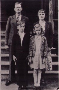 Reginald, Clara, Paul & Ruby on February 2, 1939 the 50th Anniversary of Amous Perminter & Mercilla Nanney