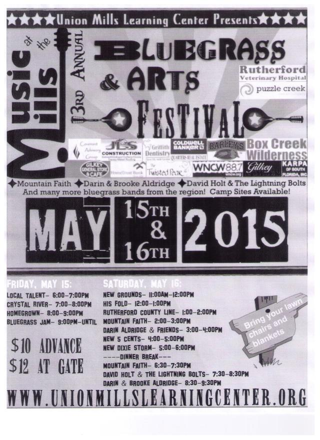 Bluegrass Music and Arts Poster 2015