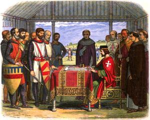 English barons encourage King John to sign the Magna Carta on June 15, 2015